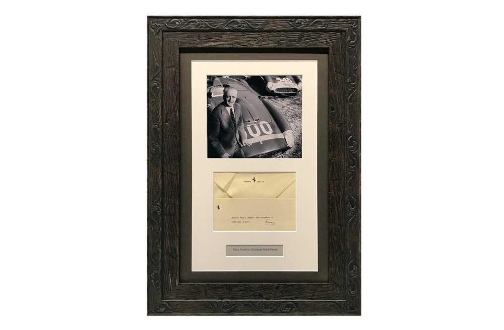 Lot 94 - Enzo Ferrari Autograph Presentation (1898 - 1988)