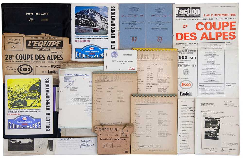 Lot 35 - Coupe Des Alpes Rally Paperwork / Ephemera