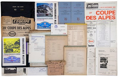 Lot 35 - Coupe Des Alpes Rally Paperwork / Ephemera