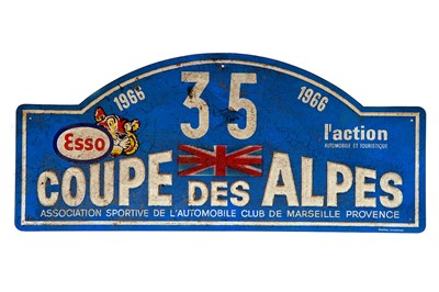 Lot 37 - Coupe Des Alpes Competitor Rally Plaque, 1966