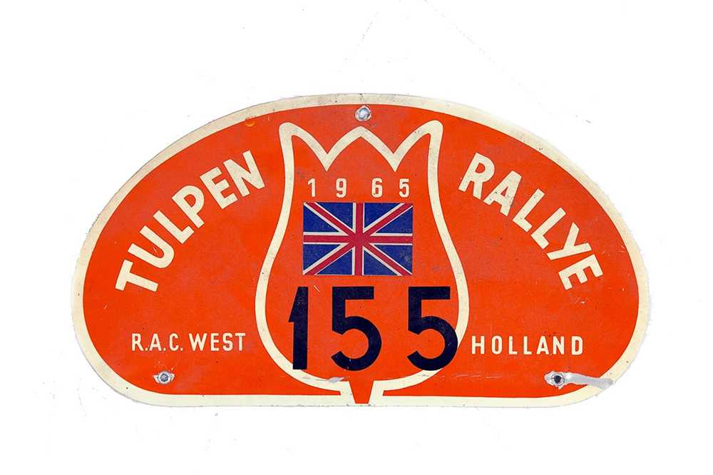 Lot 43 - Tulip Rally Competitor Plaque, 1965