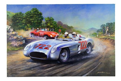 Lot 68 - Gerald Freeman Giclée Canvas Print - Moss and Jenkinson - Mille Miglia, 1955