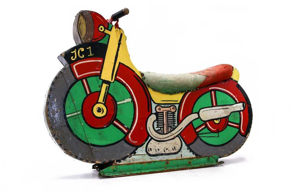 Lot 82 - Fairground Ride-on Wooden Motorcycle