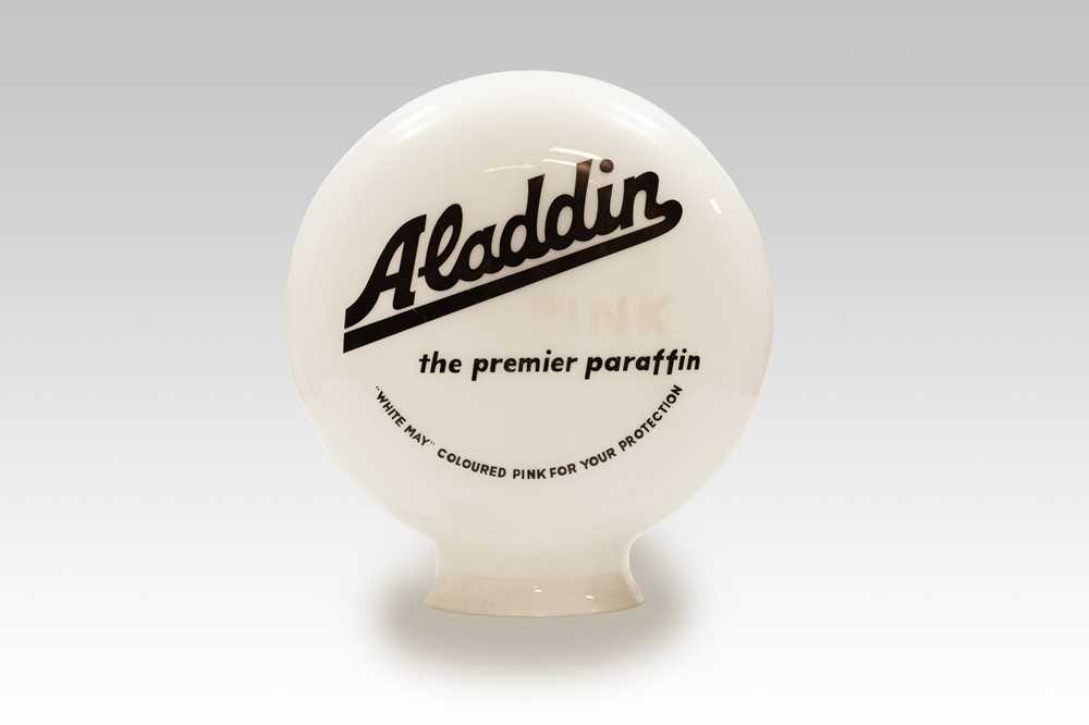 Lot 107 - Aladdin 'Pink Paraffin' Glass Pump Globe