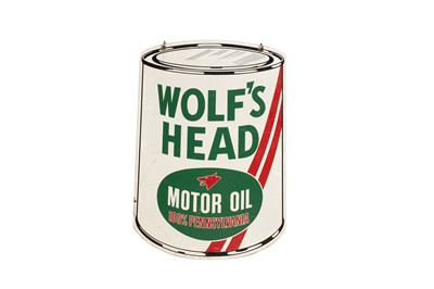 Lot 126 - Wolf's Head Motor Oil Advertising Sign
