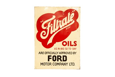 Lot 6 - Filtrate Oils 'Approved by Ford' Tin Advertising Sign