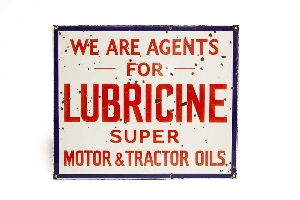Lot 7 - Lubricine 'Motor And Tractor Oils' Enamel Sign