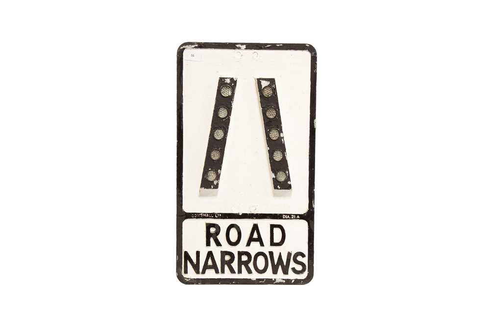 Lot 16 - 'Road Narrows' Cast Aluminium Road Sign