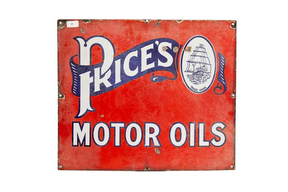 Lot 19 - Price's Motor Oil Enamel Sign
