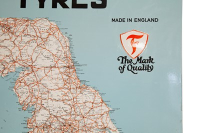 Lot 21 - Firestone Tyres Map of England And Wales Enamel Sign