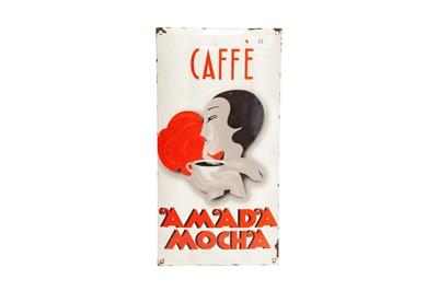 Lot 25 - 'Caffe Amada Mocha' Enamel Sign