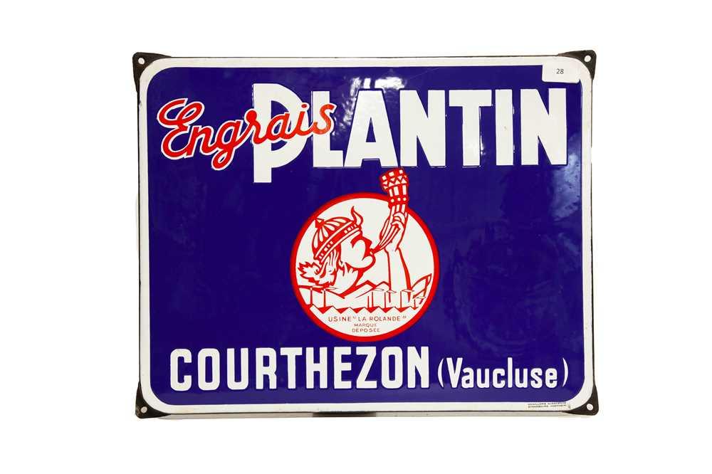 Lot 28 - Engrais Plantin Courthezon Enamel Sign