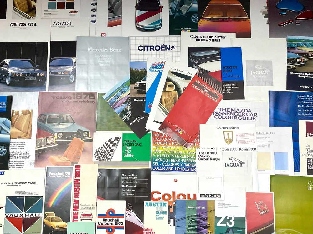 Lot 131 - Quantity of Vehicle Manufacturer Paint and Upholstery Charts / Booklets