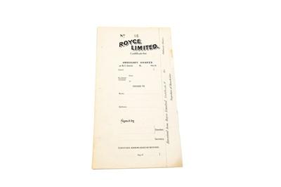 Lot 14 - Royce Ltd Share Certificate