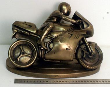 Lot 15-Motorcycle & Rider Cast Deskpiece