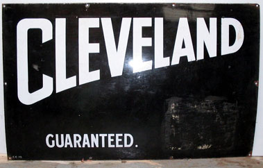 Lot 23-Cleveland Guaranteed Enamel Garage Sign
