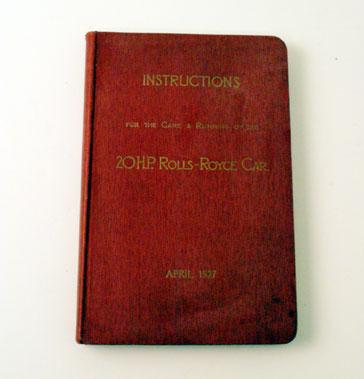 Lot 9-Rolls-Royce 20 Hp Owners Handbook