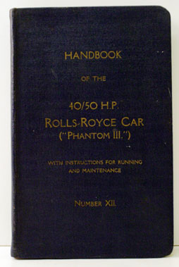 Lot 8-Rolls-Royce Phantom III Owners Handbook