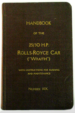 Lot 9-Rolls-Royce 25/30 Wraith Owners Handbook