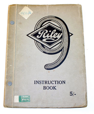 Lot 59-Riley 9 Instruction Book