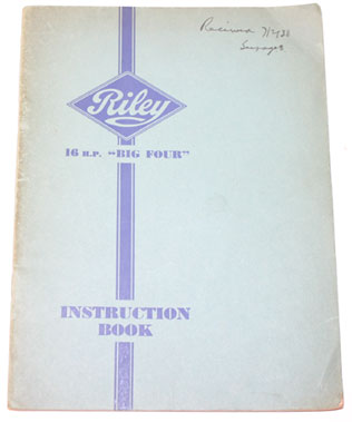 Lot 60-Riley 16hp Big Four Instruction Book