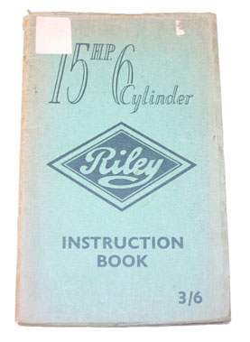 Lot 62-Riley 15 Hp 6-Cylinder Instruction Book
