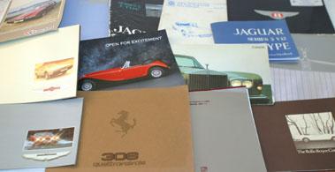Lot 3-Aston Martin, Ferrari, Rolls-Royce & E-Type Lite Rature