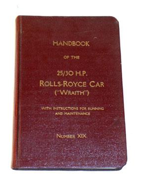 Lot 5-Rolls-Royce 25/30 Wraith Owners Handbook