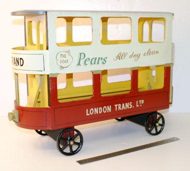 Lot 211-Wood & Metal ChildS Pull Along London Tram