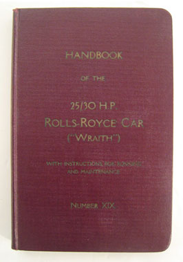 Lot 127-Rolls-Royce Wraith 25-30hp Handbook
