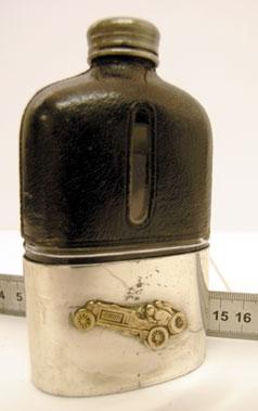 Lot 204-Veteran Racing Car Badged Drinks Flask