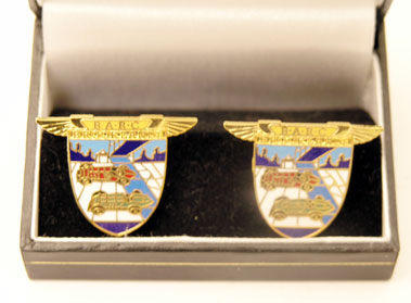 Lot 209-B.A.R.C. Brooklands 18ct Gold Plated Cufflinks