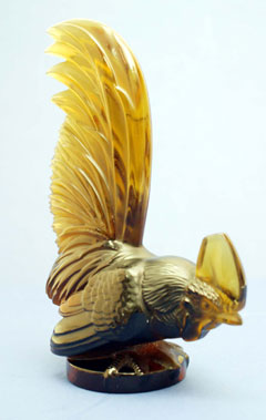 Lot 312-Amber 'Coc Nain' Glass Accessory Mascot by R. Lalique