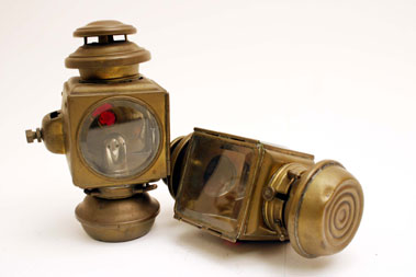 Lot 329-Square-Bodied Brass Oil Side Lamps