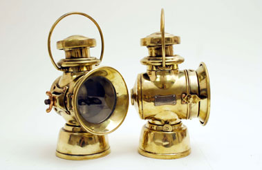 Lot 306-Lucas 'King of the Road' Brass Side Lamps (no 724)