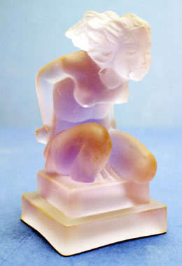 Lot 310-'Crouching Lady' Glass Accessory Mascot