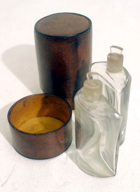 Lot 222-Edwardian Traveling Cut Glass Perfume Bottles