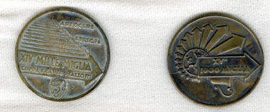 Lot 208-Two Mille Miglia Finisher's Medals