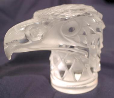 Lot 305-Tete D'Aigle Glass Accessory Mascot by R. Lalique
