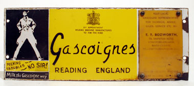 Lot 400-Gascoigne's Milking Machines Enamel Sign
