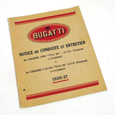 Lot 120-Bugatti Type 40 Original Manual