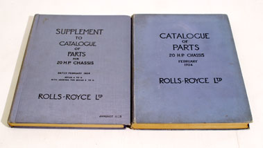 Lot 123-Rolls-Royce 20 H.P Catalogues of Parts