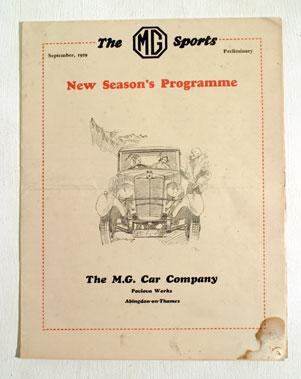 Lot 130-MG Sports 'Preliminary New Seasons Programme'