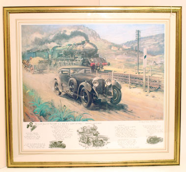 """Lot 503-'Bentley V """"Blue Train"""" print by Cuneo"""