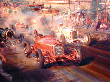 Lot 500-Alfredo de la Maria 'Monaco Meets Monza' Canvas Print