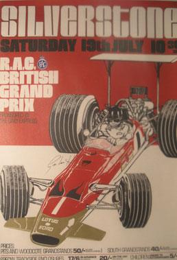 Lot 501-Graham Hill Signed British Grand Prix Poster