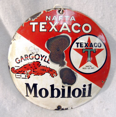 Lot 708-Texaco Gargoyle Motor Oil Enamel Sign