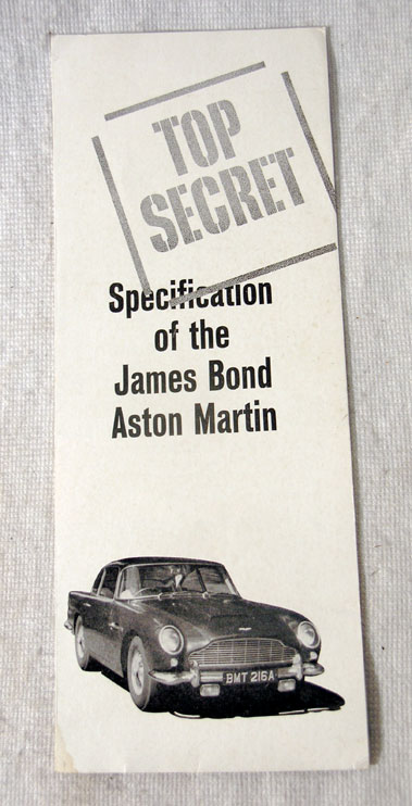 Lot 107-Top Secret - Specification of the James Bond Aston Martin
