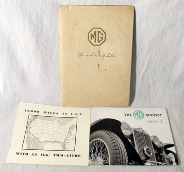 Lot 167-Three Pre-war MG Sales Brochures