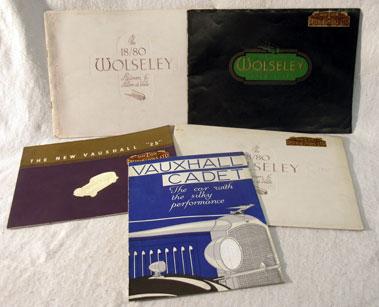 Lot 172-Wolseley & Vauxhall Pre-War Sales Brochures
